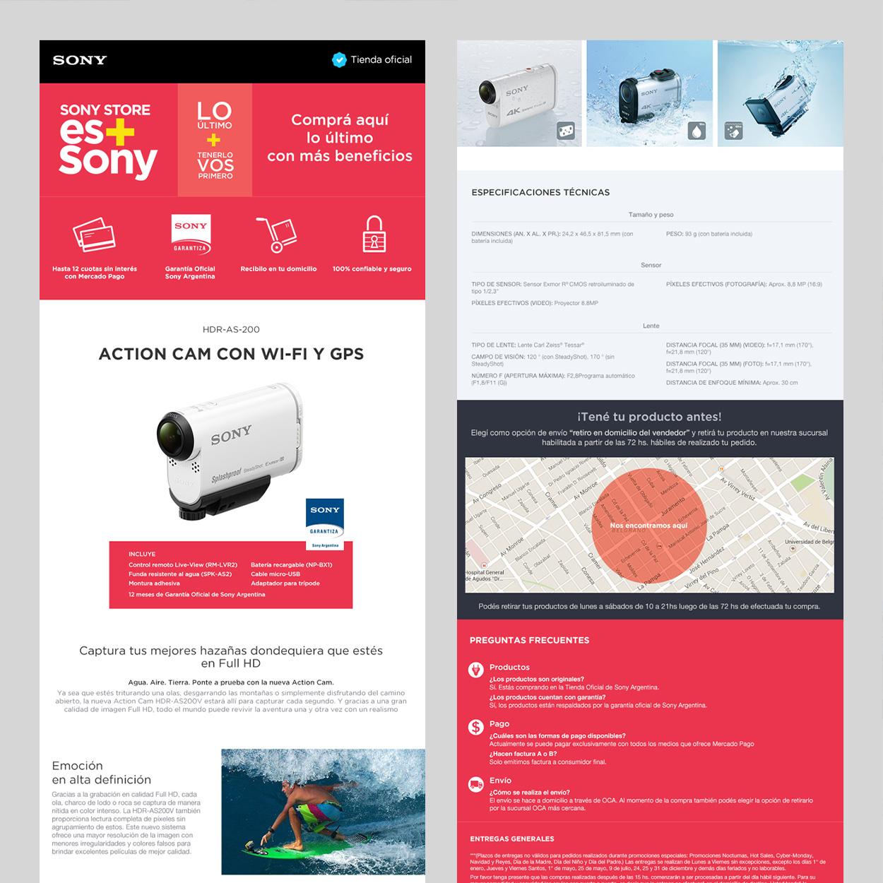 Sony en ML, página de producto
